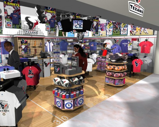 9605dbce 3D retail interior visuals and retail interior design of proposed Houston  Texans merchandise store for airport retail marketing of team related  apparel and ...